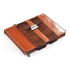 Brown Horsehair and Leather Handled Portfolio for iPad and MacBook Air | iCarryalls Leather Fashion  www.icarryalls.com