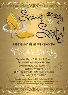 60th birthday invitation sweet sassy and by katiejenkinsdesigns