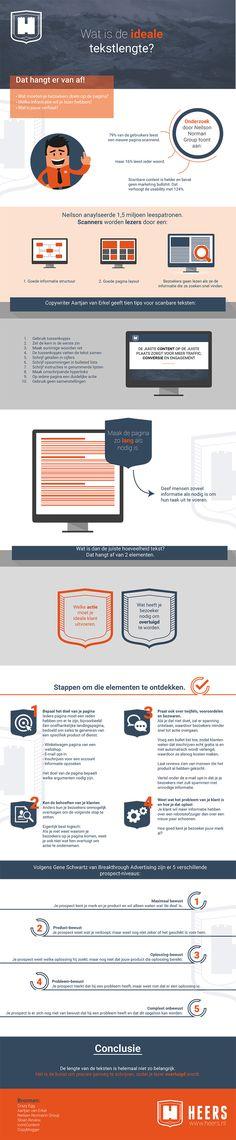 Er wordt altijd veel gediscussieerd over de ideale tekstlengte van een webtekst. Tijd om het eens in een mooie infographic te gieten.