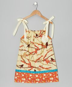 Take a look at this Ivory & Orange Bird Shift Dress - Toddler & Girls by Wonder Me on #zulily today!