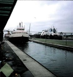 View of the Edmund Fitzgerald at the Soo Locks at Sault Ste Marie in Michigan - 7/1975