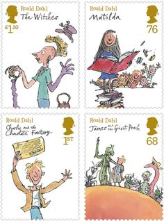 Roald Dahl Stamps. Wish these were in the US! -- art  by Quentin Blake