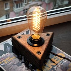 Items similar to Wooden lamp Edison Lamp Dimmer Industrial lamp Steampunk lamp on Etsy Rustic Lamps, Antique Lamps, Rustic Lighting, Industrial Lamps, Vintage Industrial, Wooden Lamp, Wooden Diy, Lampe Edison, Edison Bulbs