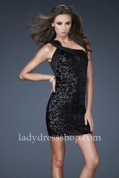 One Shoulder Open Back Sophisticated Short Black Homecoming Dresses La Femme 16905 http://www.ladydressshop.com