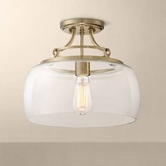 """Charleston Brass 13 1/2"""" Wide Clear Glass LED Ceiling Light"""