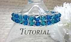 Right Angle Weave Swarovski Embellished Bracelet Tutorial Crystal Bracelets, Pearl Bracelet, Swarovski Bracelet, Right Angle Weave, Jewelry Patterns, Bead Patterns, Bracelet Patterns, Bracelet Tutorial, Swarovski Pearls