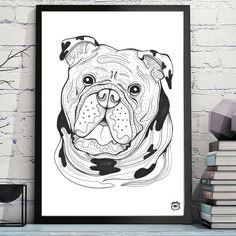 Bulldog Dog A4  illustration print art dog print dog by mmuffn