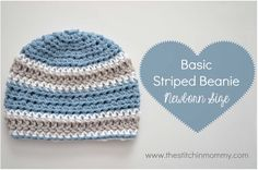 basic striped beanie - newborn size - free pattern