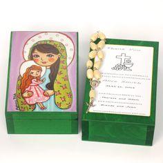 St Anne Virgin Mary box Saint Anne box Wood keepsake box First