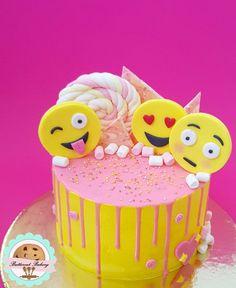 Emoji Cake with yellow italian meringue buttercream and pink drip!