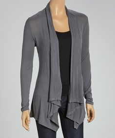Look at this #zulilyfind! Charcoal Open Cardigan - Women #zulilyfinds