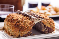 Herb-Crusted Rack of Lamb Recipe An elegant rack of lamb recipe with a crispy breadcrumb coating flavored with honey, mustard, anchovies, rosemary, and garlic. Lamb Recipes, Roast Recipes, Lunch Recipes, Cooking Recipes, Drink Recipes, Crockpot Recipes, Dinner Recipes, Smoked Pastrami Recipe, Lamb Roast Recipe