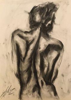 "Medium, Original, Impressionist, Drawing, Charcoal on Paper, ""Elimo"""