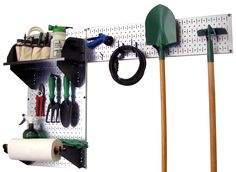 Wall Control Storage Systems - Pegboard Garden Tool Board Organizer Kit - Metallic Pegboard with Accessories, $74.99 (http://www.wallcontrol.com/pegboard-garden-tool-board-organizer-kit-metallic-pegboard-red-accessories/)