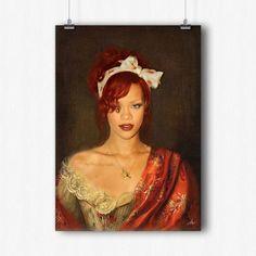 Affiche vintage Rihanna et le Châle Brodé Rouge...