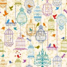 Vintage birds and birdcages collection. Pattern. Wallpaper. Imagem