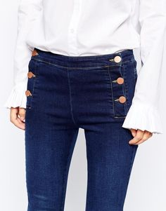 Image 3 of Lost Ink Denim Flare with Matelot Button Front