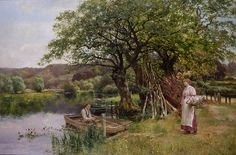 """Painting of the Day (SOLD archives): Henry John Yeend King's """"The Ferry"""" - http://rehs.com/blog/2014/12/painting-of-the-day-sold-archives-henry-john-yeend-kings-the-ferry/"""