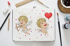 #Free #Download 5 Cute Valentine's Day Cupids -