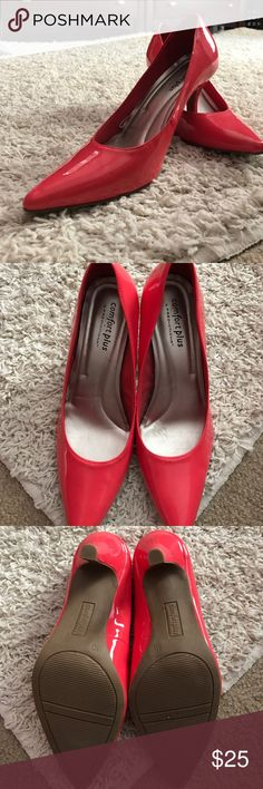 Red/Pink heels Comfortable coral pink/red high heels, worn once, little to no scuffs comfort plus Shoes Heels