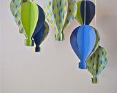 Boys 3D Paper Hot Air Balloon Mobile. $45.00, via Etsy.