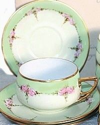 Antique Set of 6 KPM Handpainted Apple Green & Pink Roses Teacups-hand, painted, floral,yellow,gold, gilt, hand applied, Carl ,Krister, silesia,china, porcelain
