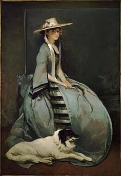 Lady in blue with dog by John White Alexander