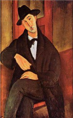 Amedeo Modigliani (1884 -1920) | Expressionism | Portrait of Mario Varvogli - 1919