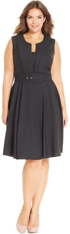 Plus Size Pleat-Front Belted Dress