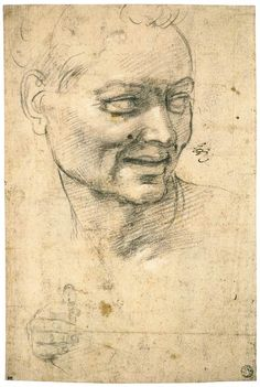 Michelangelo Buonarroti, 1475-1564, Italian, Head Study of a Smiling Youth (recto), 1508-09.  Black chalk, white heightening, 30.5 x 21 cm.  Musée du Louvre, Paris.  High Renaissance.