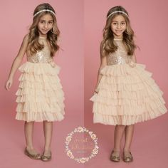 Gold sequin Flower girl dress Ivory and gold von SweetValentina