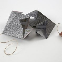 A rectangular Paper Diamond made from Vivi Gade Vellum Paper - Creative ideas Vellum Paper, Diy Paper, Paper Art, Paper Diamond, Origami Design, Handmade Christmas Decorations, Design Seeds, One Design, Craft Items