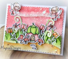 the Lawn Fawn blog: Magical Birthday Card by Mayra (using Fairy Friends, Stitched Hillside Borders)