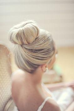 Wedding Hair: Elegant Top Bun. Gorgeous hairstyle for the bride!