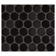 "Complete Tile Collection Penny Round Mosaic - Midnight Black - Gloss, 1"" Round Glazed Porcelain Penny Mosaic Tile, Anti-Microbial, Anti-Odor, Anti-Staining Technology, MI#: 063-Z1-250-050, Color: Midnight Black"