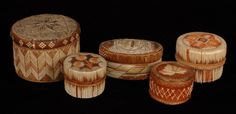 "Five Micmac Birch Bark and Quill Work Baskets 3 1/4"" - 5 1/2"" D., 2"" - 4"" H. As Is"