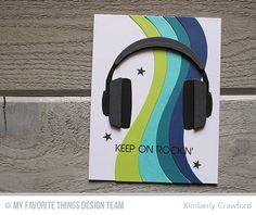 card headphone headphones, music, Keep on Rockin', MFT Headphones Die-namics, MFT Ride the Wave Die-namics - Kimberly Crawford Boy Cards, Kids Cards, Cricut Tutorials, Video Tutorials, Mft Stamps, Cricut Cards, Card Making Inspiration, Masculine Cards, Creative Cards