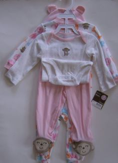 Carters-Little-Giftables-4-Piece-Layette-Size-9M-Zoo-Animals-100-Cotton