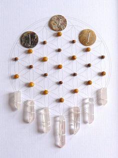 GRATITUDE  framed sacred crystal grid  quartz, aragonite, sandalwood, shell, flower of life
