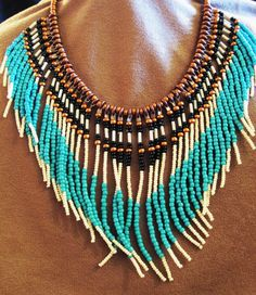 Native American style turquoise and tan seed beaded necklace - by Montana TreasuresbyMJ on Etsy $50.00