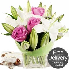 Rhapsody FREE Chocolates A stylish bouquet and sure to delight. This florist arranged beauty is made to order by our florists and sure to delight everytime. Includes white Oriental Lilies and pink Roses Oriental Lily, Gift Bouquet, Gifts Delivered, Flowers Delivered, Florists, Lilies, Flower Vases, Chocolates, Pink Roses