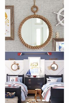 Rope_Mirror_Pottery_Barn_Kids  Rope lined trays for centerpieces.