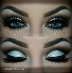 Glitters on top of cream eye shadow adds dimension. This dramatic cut crease is perfect for formal looks. Recreate this look with the must have products here. Not sure if this would look as good with my hazel eyes instead of the striking blue, though. Makeup Goals, Makeup Inspo, Makeup Inspiration, Makeup Tips, Makeup Ideas, Eye Makeup, Prom Makeup, Wedding Makeup, Formal Makeup