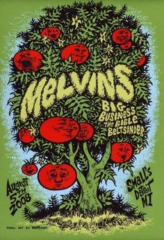 Melvins hand drawn and manually screenprinted, limited edition poster