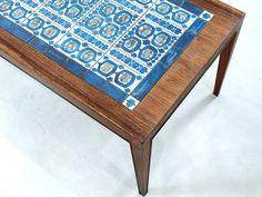 """BACA"" Royal Copenhagen Tile top Coffee table    Severin Hansen Jr. for Haslev Møbelfabrik"