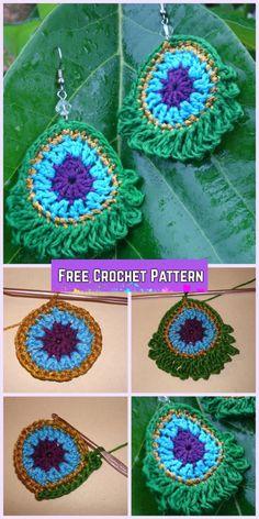 Simple Crochet Peacock Earrings Free Pattern