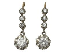 Ct Diamond And 18 Yellow Gold Drop Earrings Antique Vintage French