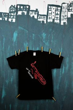 Koszulka Saksofon (czarno-czerwona)