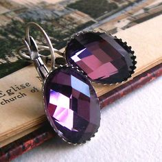 Vintage style earrings with purple glass jewel., coupdecoeurjewelry, $16.50