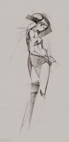 Academic Conte Figure Drawing by Ryan Woodward